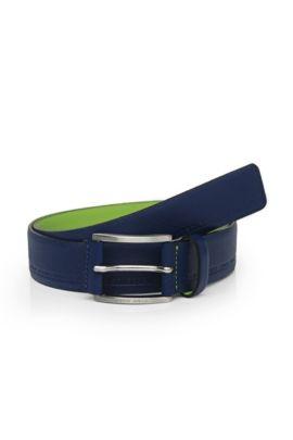 Markant strukturierter Ledergürtel mit Logo-Prägungen: ´Tymos`, Hellblau