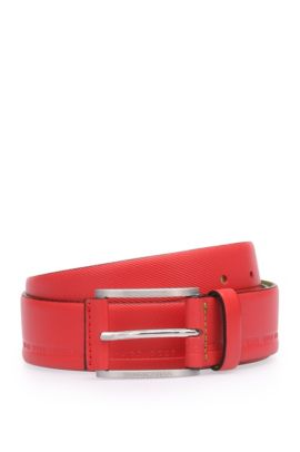 Distinctively textured leather belt with embossed logos: 'Tymos', Open Red