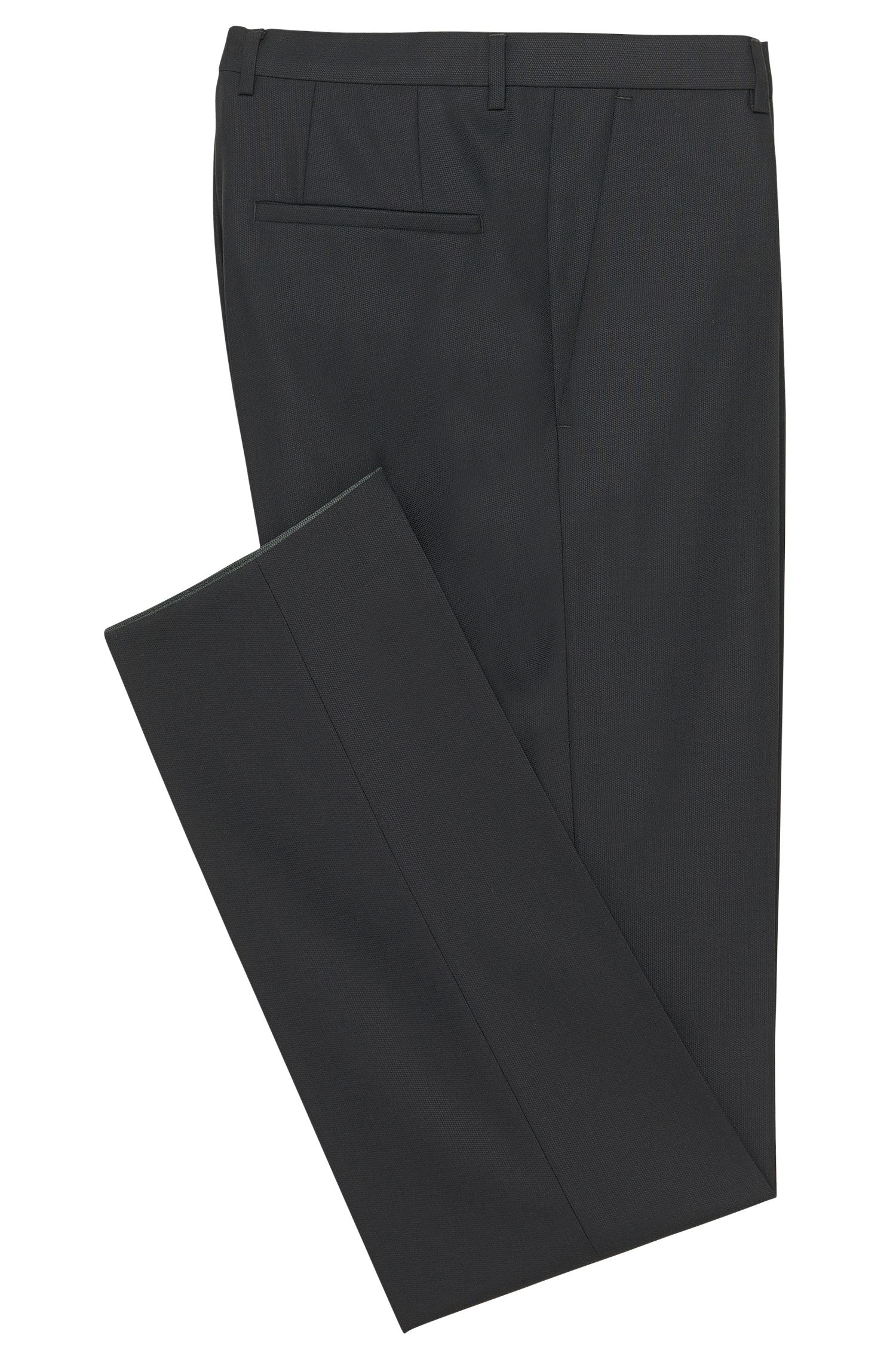 Pantalones regular fit en lana virgen de HUGO Hombre, Gris marengo