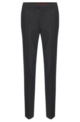 Regular-fit trousers in virgin wool by HUGO Man, Anthracite