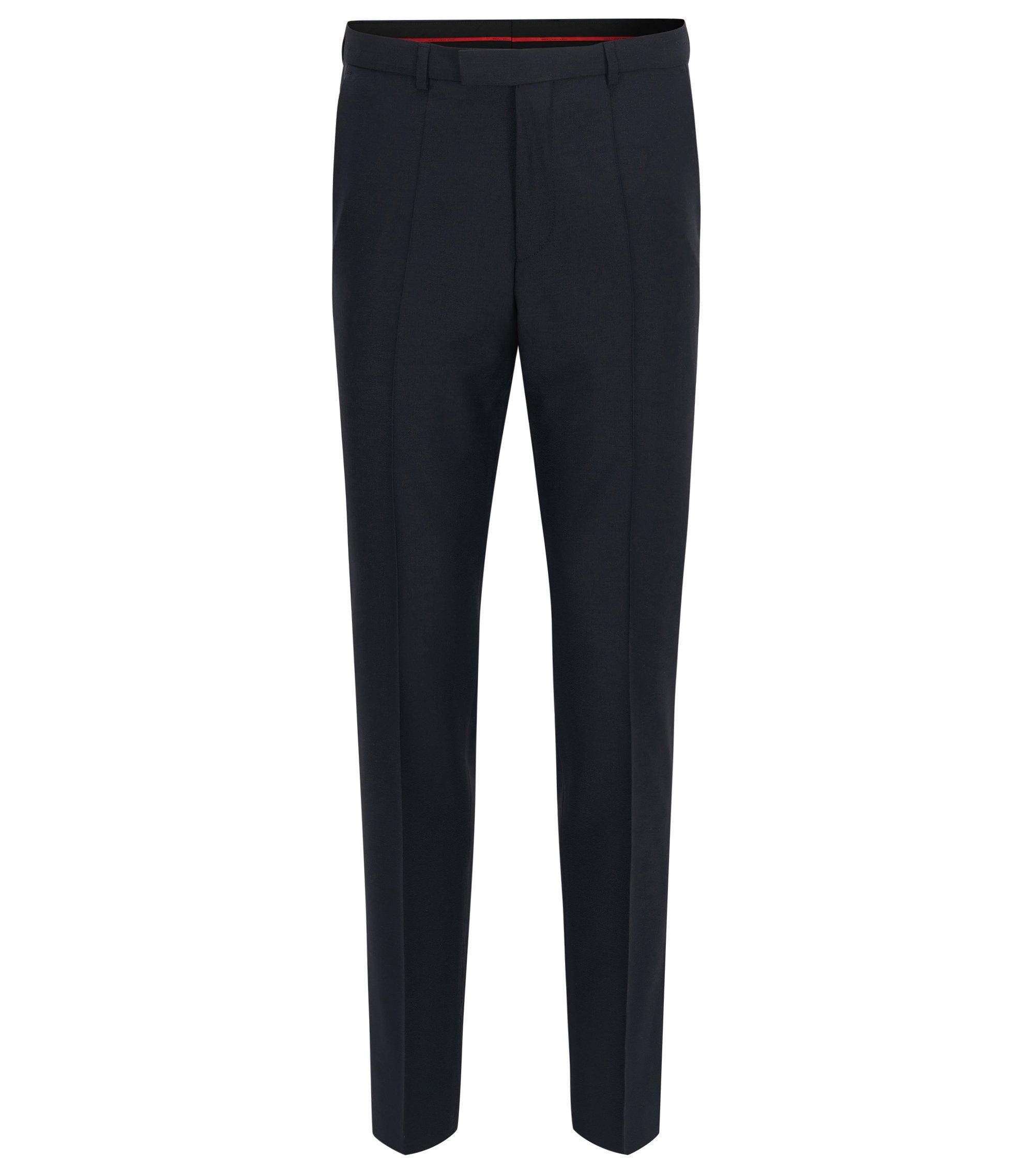 Pantaloni regular fit HUGO Uomo in lana vergine, Blu scuro