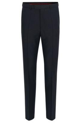 Pantalon HUGO Homme Regular Fit en laine vierge, Bleu foncé