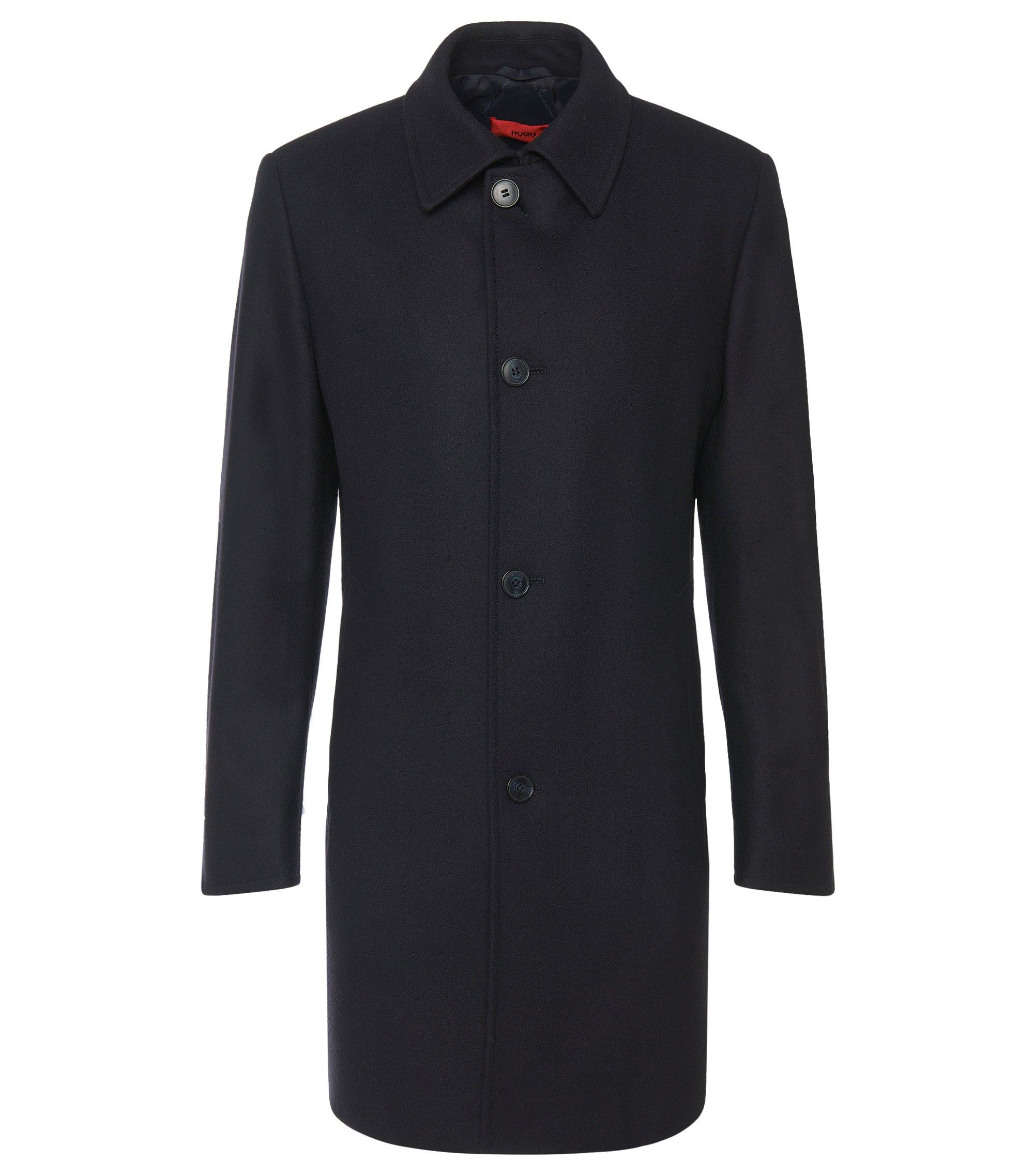 Regular-fit mantel van een scheerwolmix: 'C-Task', Donkerblauw