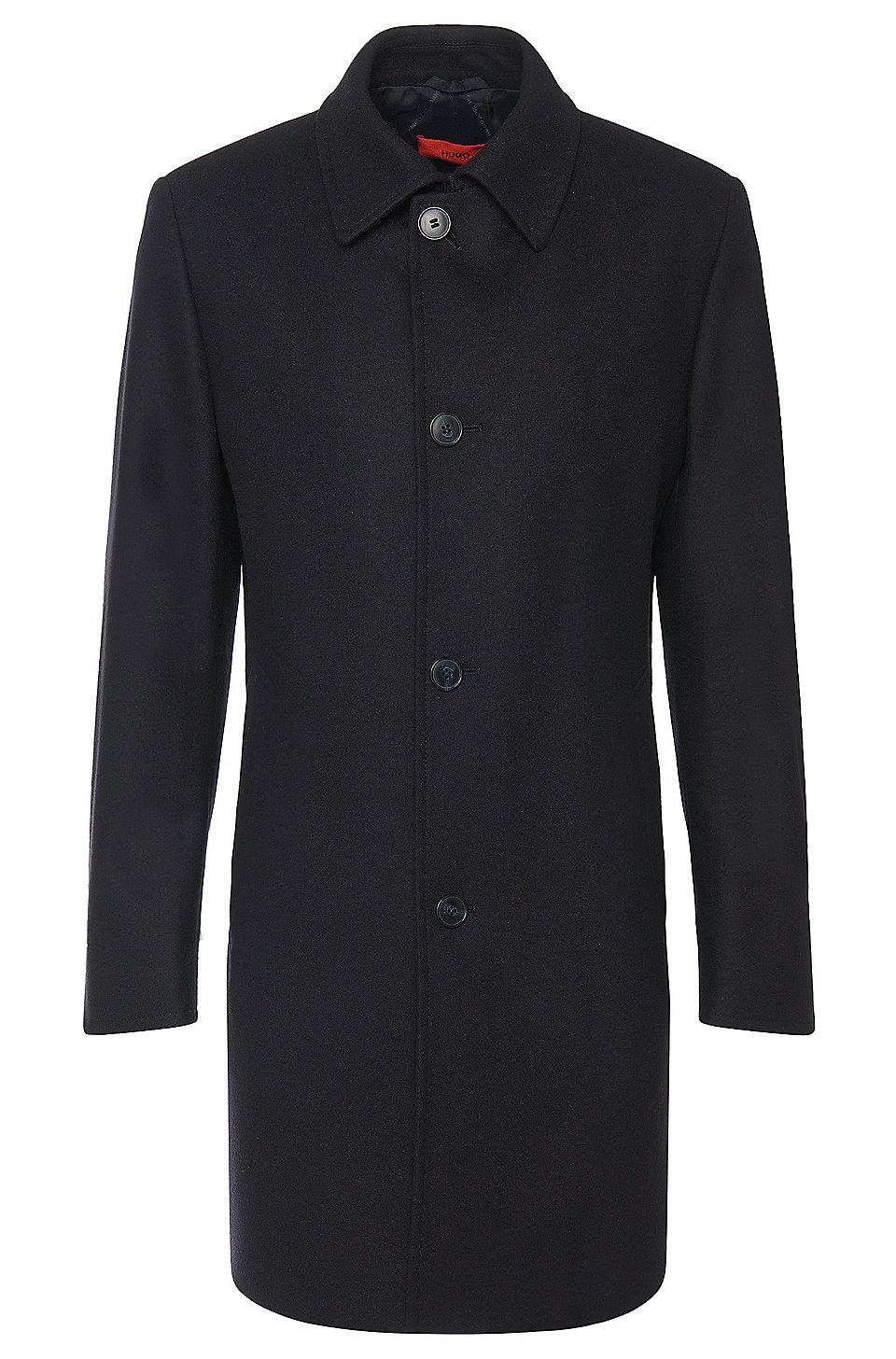 hugo regular fit coat in new wool blend 39 c task 39. Black Bedroom Furniture Sets. Home Design Ideas
