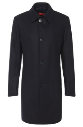 Regular-fit coat in new-wool blend: 'C-Task', Dark Blue