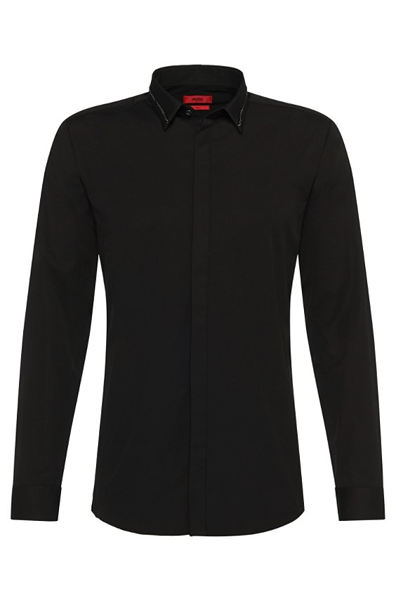 Slim-fit shirt with a fine-link metal chain on the collar: 'Ems', Black