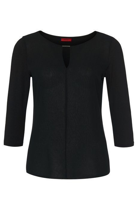 Regular-fit jersey top with woven front, Black