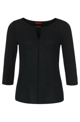 Regular-fit jerseytop met geweven voorkant, Zwart