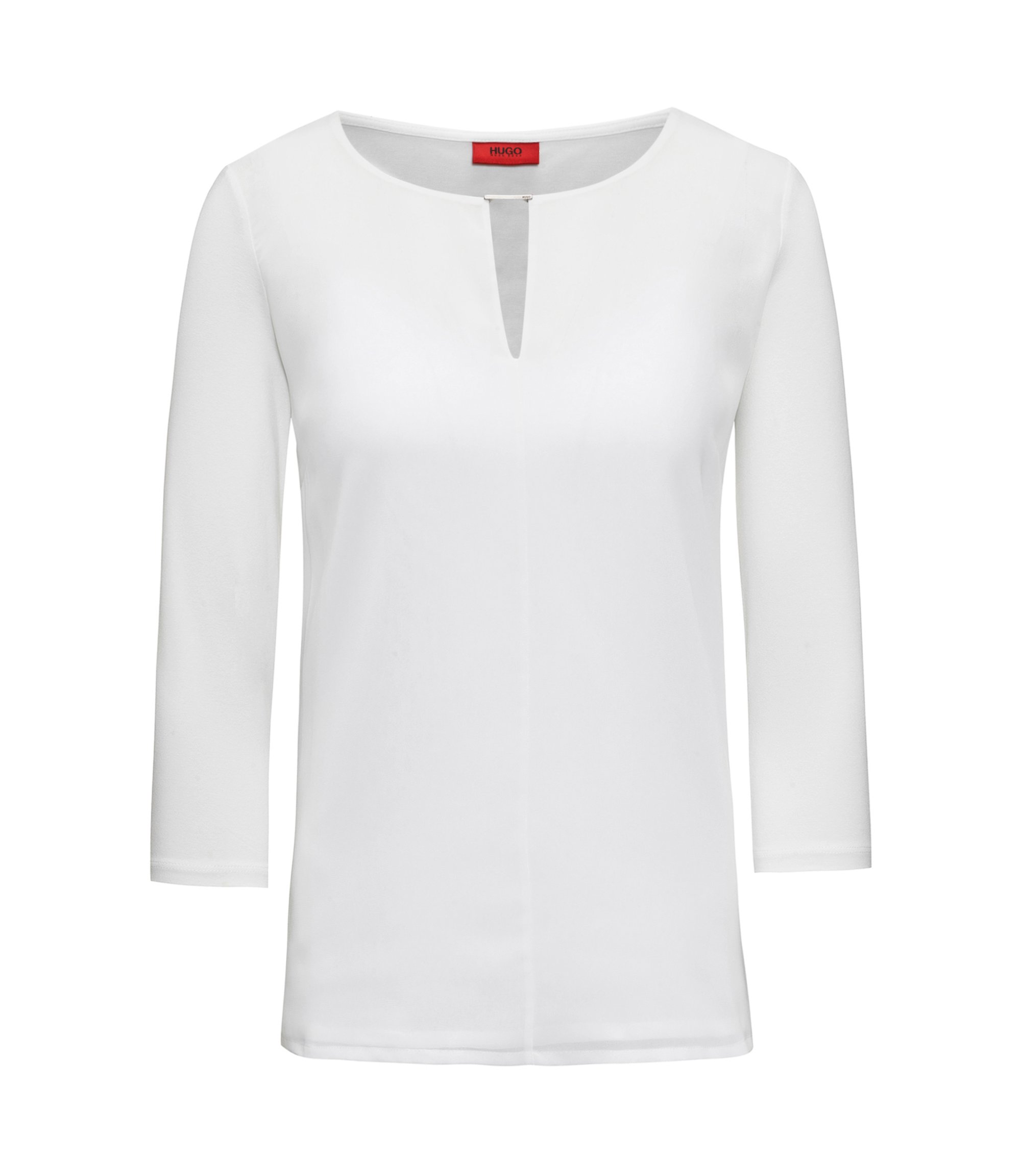 Regular-fit jersey top with woven front, Natural