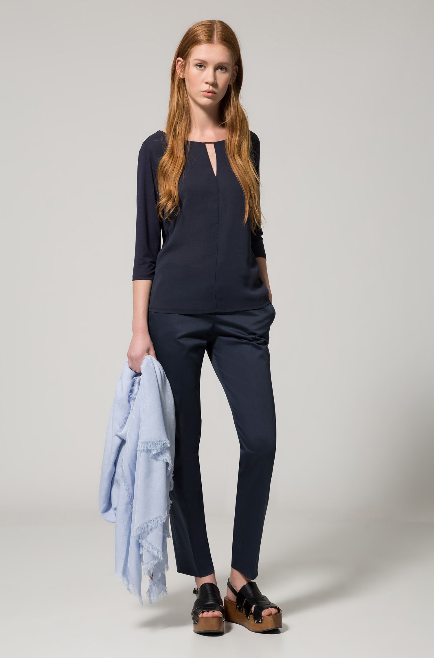 Regular-fit jersey top with woven front