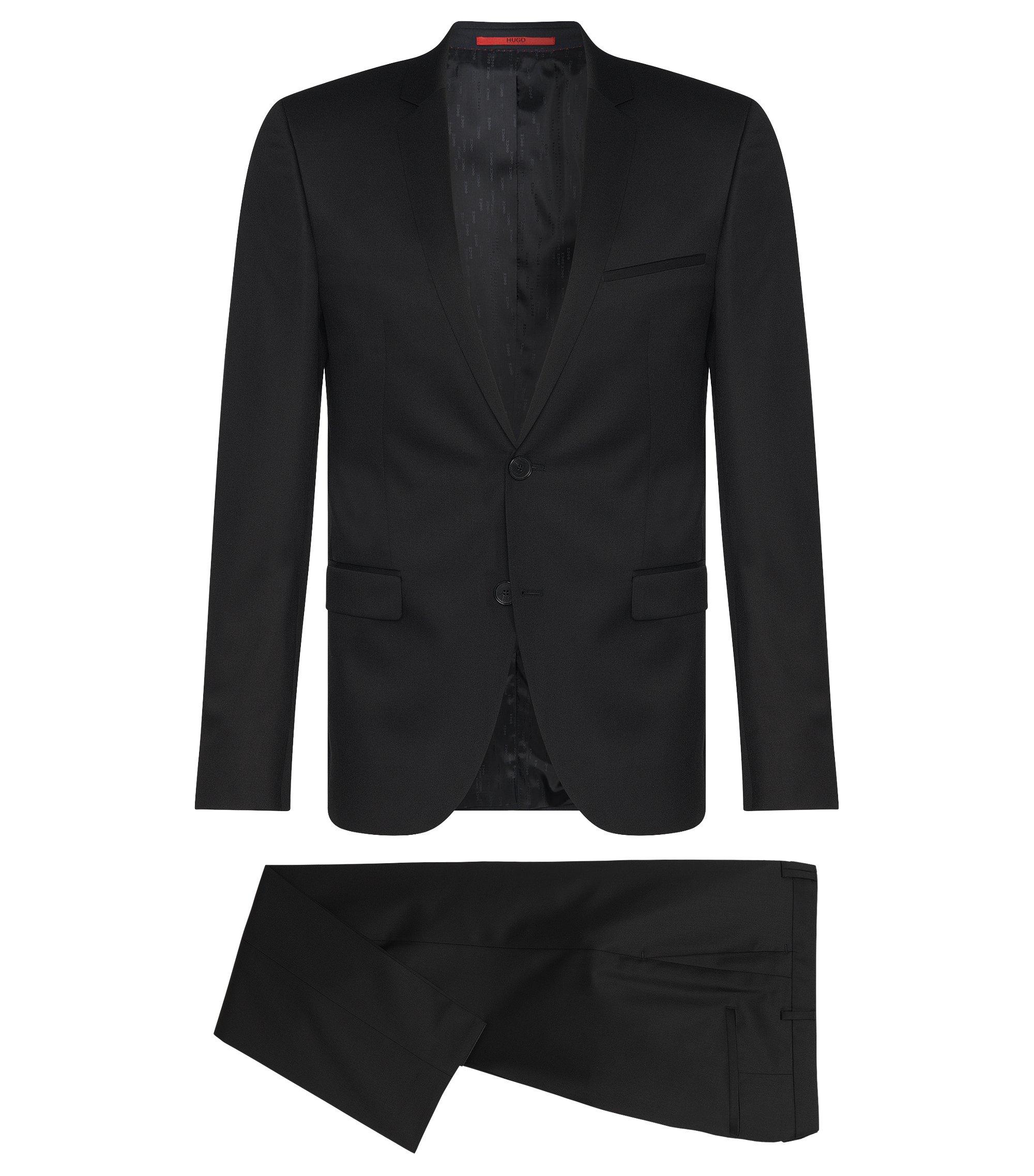 Costume Extra Slim Fit en laine vierge, Noir