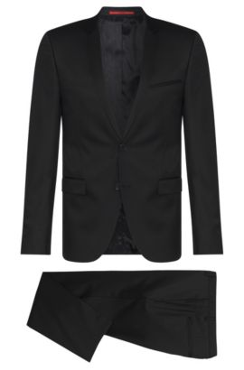 Extra-slim-fit suit in virgin wool , Black