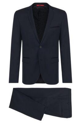 Traje extra slim fit en lana virgen , Azul oscuro