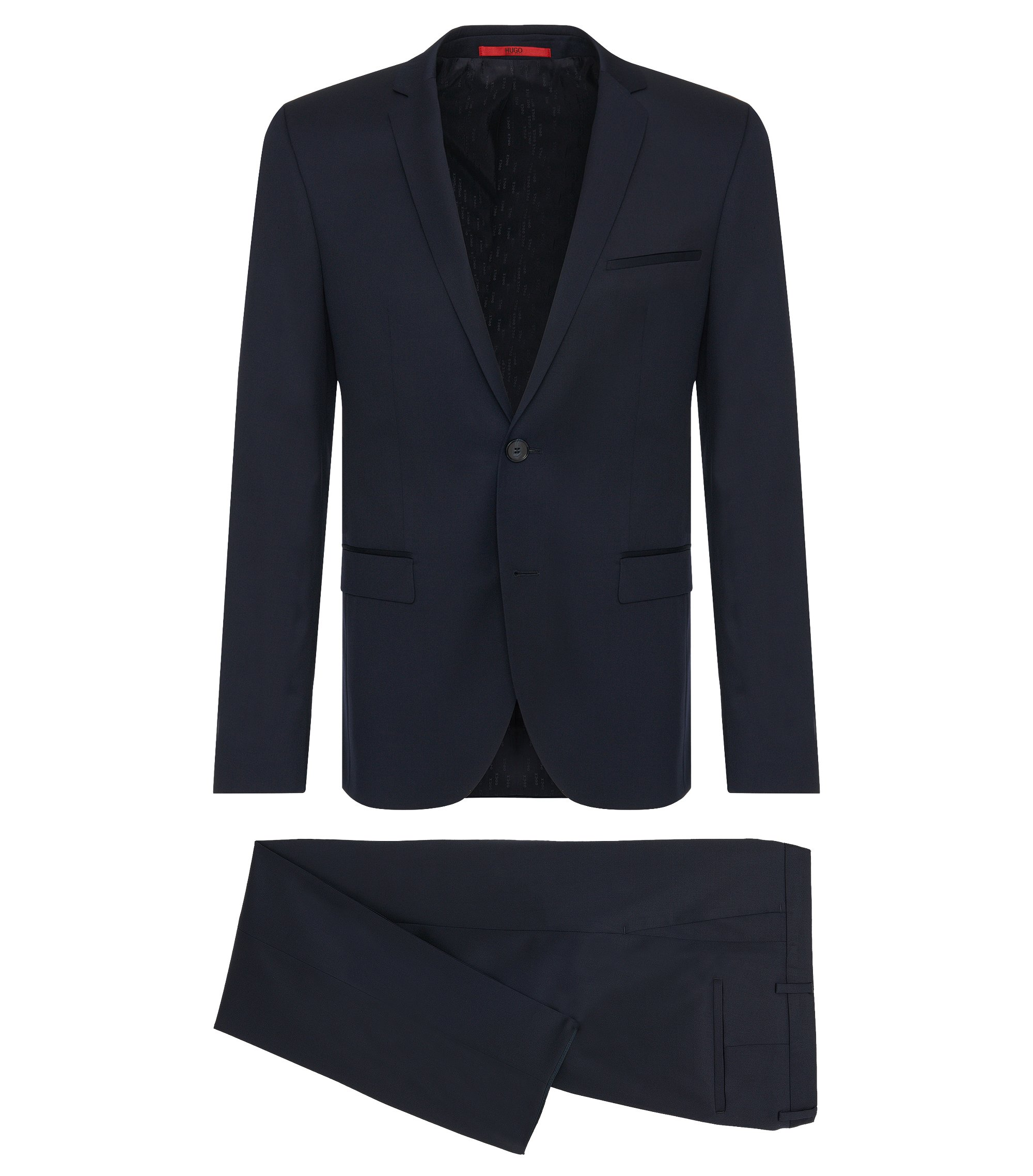 Extra-slim-fit suit in virgin wool , Dark Blue