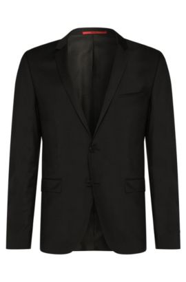 Plain-coloured extra-slim-fit jacket in new wool: 'AddyS', Black
