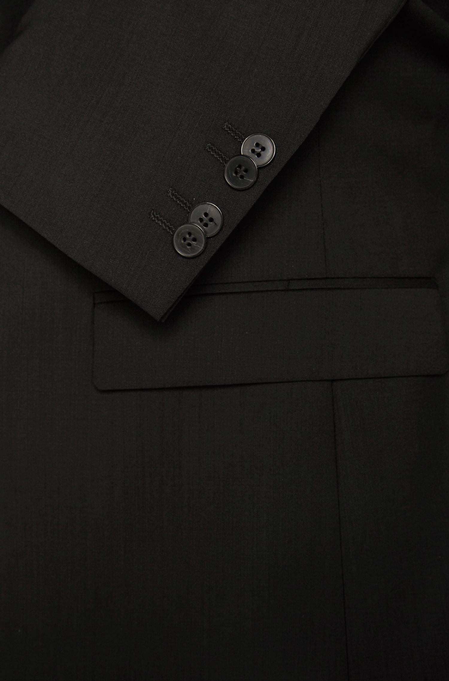 Giacca extra slim fit in tinta unita in lana vergine: 'AddyS', Nero