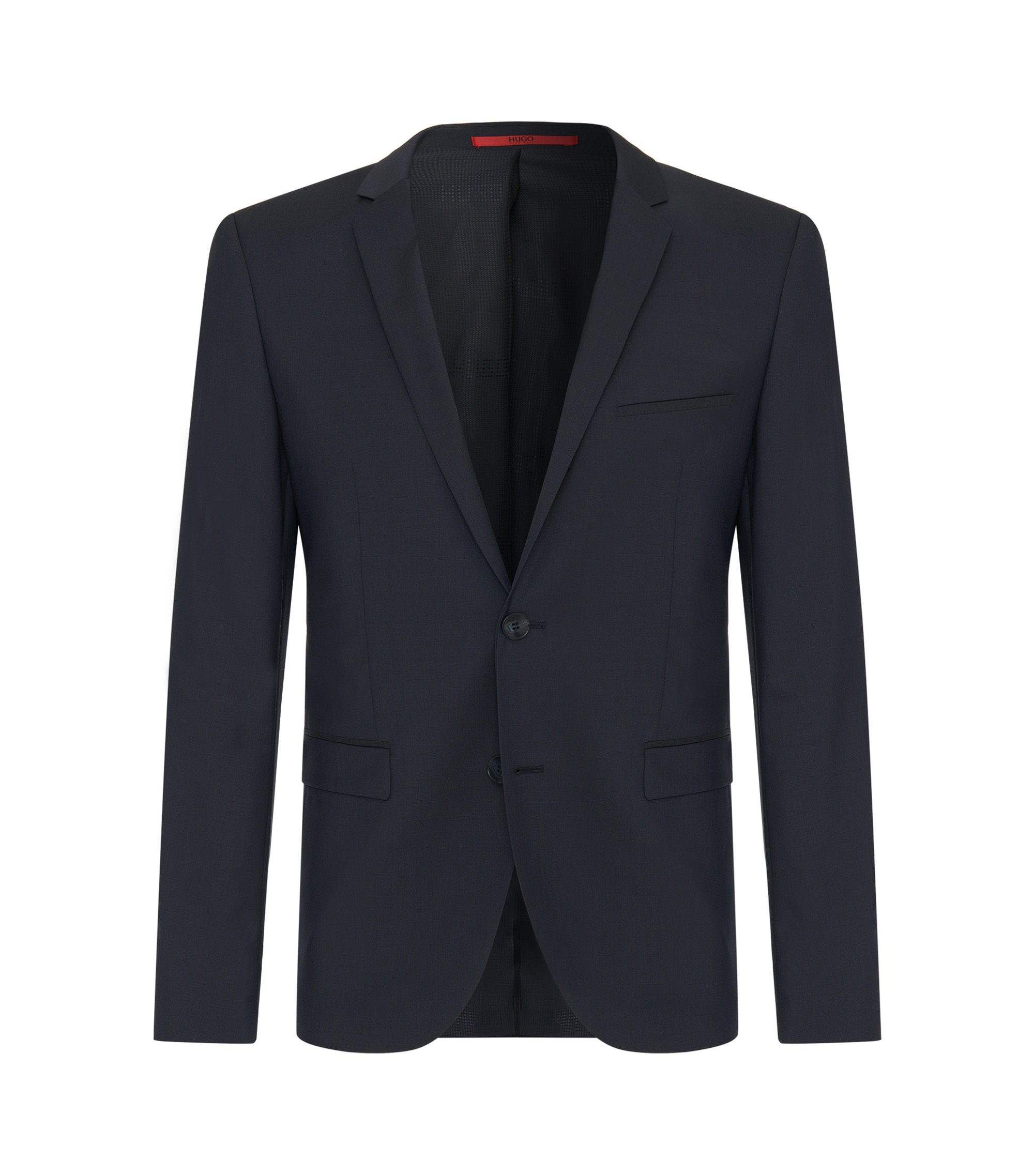 Plain-coloured extra-slim-fit jacket in new wool: 'AddyS', Dark Blue
