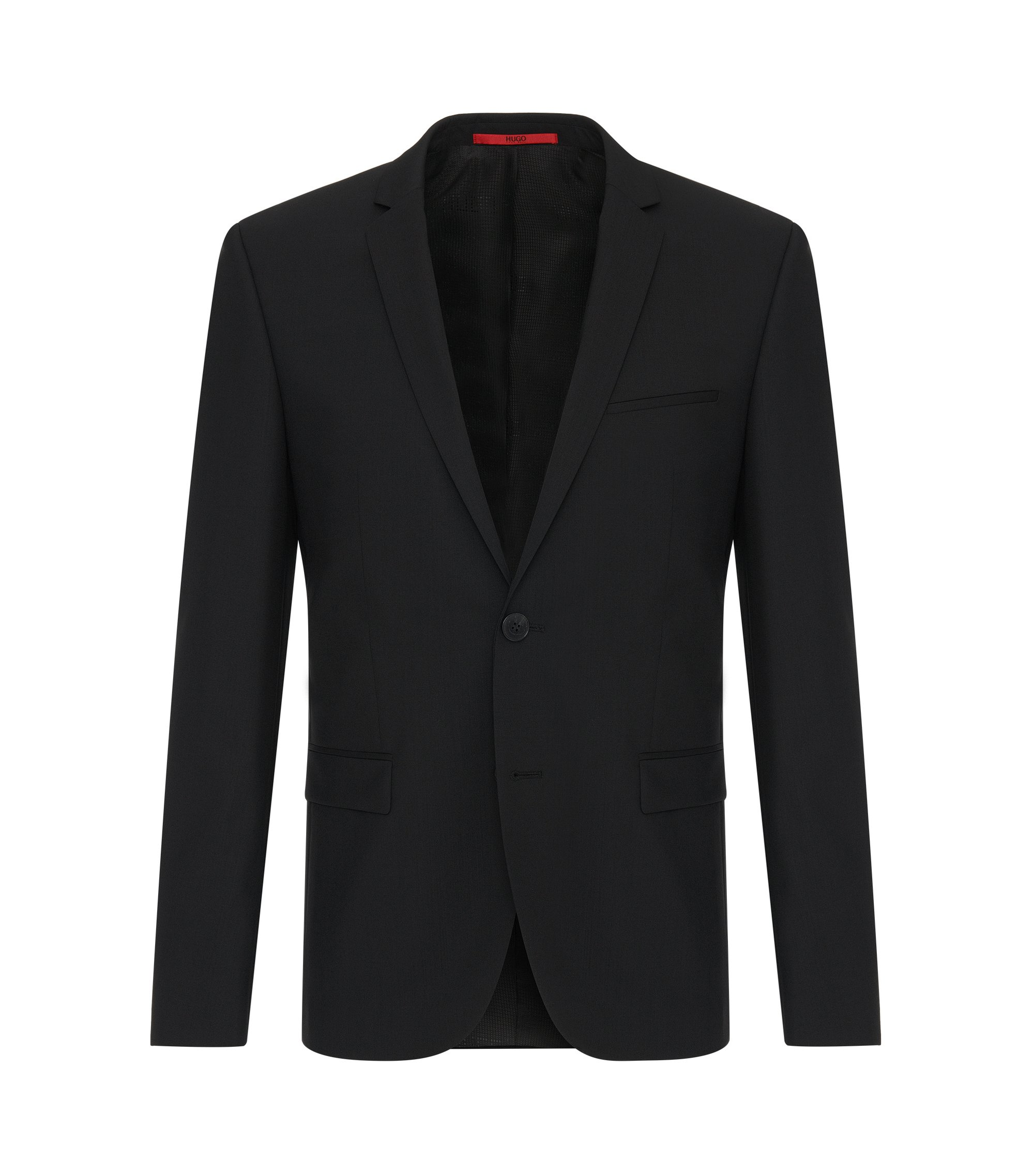 Veste de costume Extra Slim Fit en laine stretch, Noir