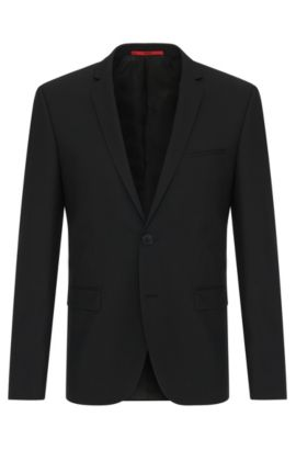 Extra-slim-fit suit jacket in stretch wool , Black