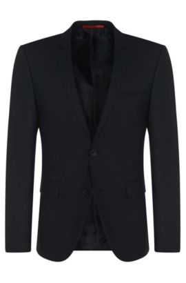 Extra-slim-fit suit jacket in stretch wool , Dark Blue