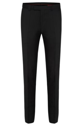 Pantalon uni Extra Slim Fit en pure laine vierge : « HopeS », Noir