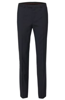 Plain-coloured extra-slim-fit trousers in pure new wool: 'HopeS', Dark Blue