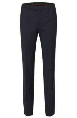 Pantalon uni Extra Slim Fit en pure laine vierge: «HopeS», Bleu foncé