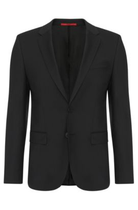 Slim-fit jacket in pure new wool: 'AlanS', Black