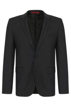 Slim-fit jacket in pure new wool: 'AlanS', Dark Grey