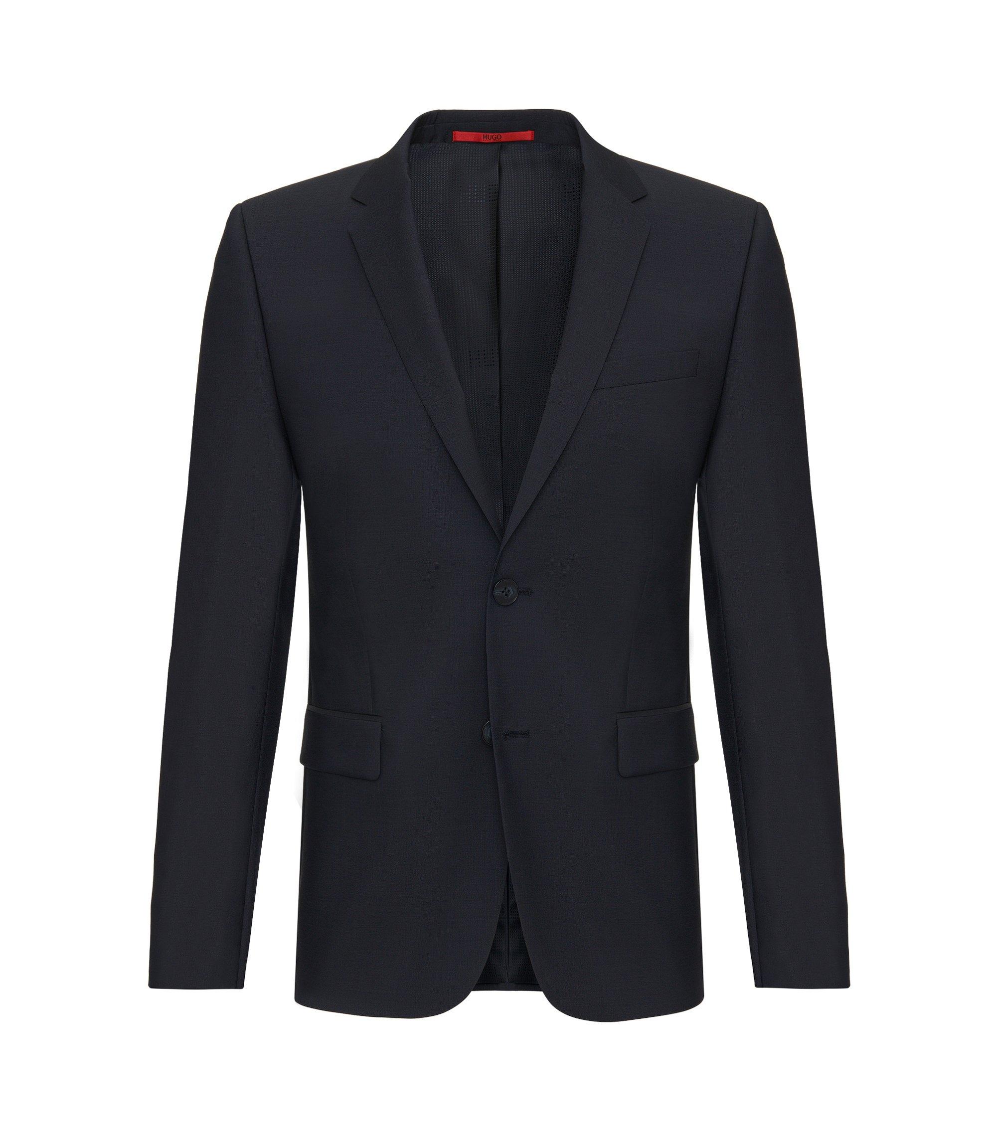 Slim-fit jacket in pure new wool: 'AlanS', Dark Blue