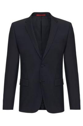 Veste de costume Slim Fit en pure laine vierge: «AlanS», Bleu foncé