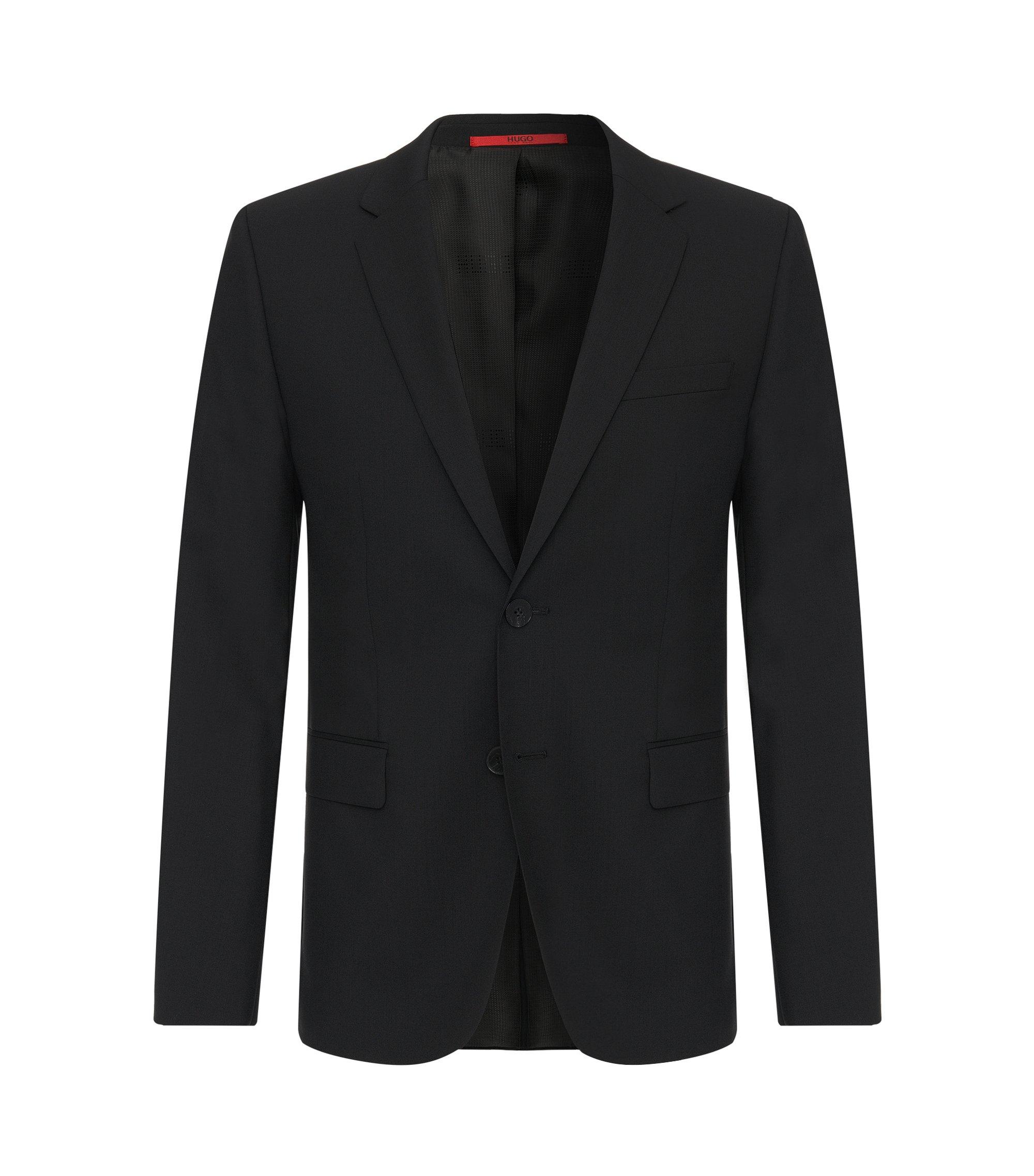 Veste de costume HUGO Homme Slim Fit en laine stretch, Noir
