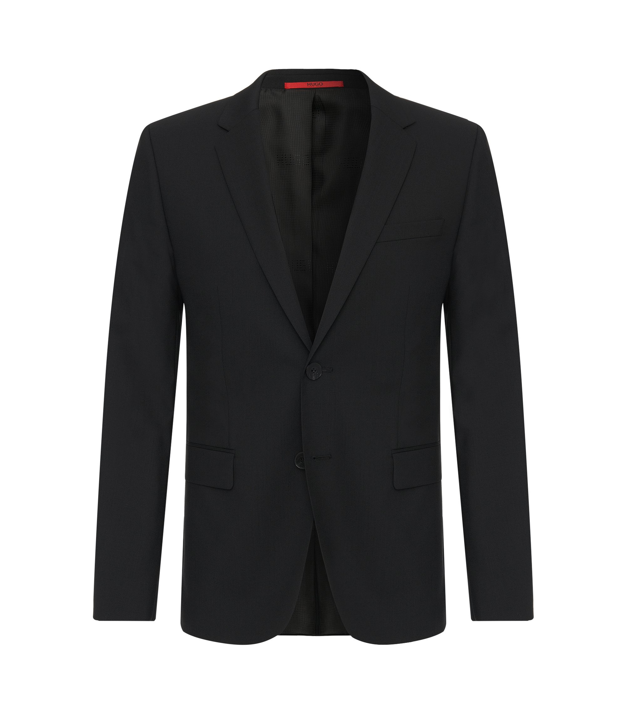 Giacca slim fit in lana elasticizzata HUGO Uomo, Nero