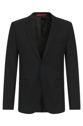 Veste de costume HUGO Homme Slim Fit en laine stretch, Noir