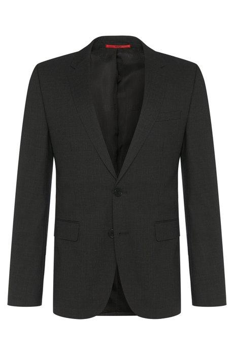 Slim-fit suit jacket in stretch wool by HUGO Man, Dark Grey