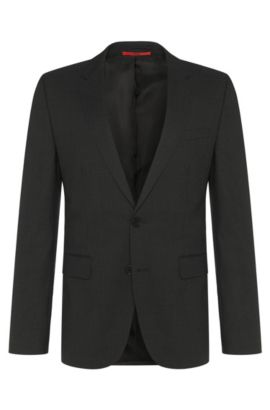 Slim-fit suit jacket in stretch wool by HUGO Man, Dark Grey