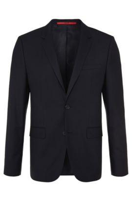 Slim-fit suit jacket in stretch wool by HUGO Man, Dark Blue