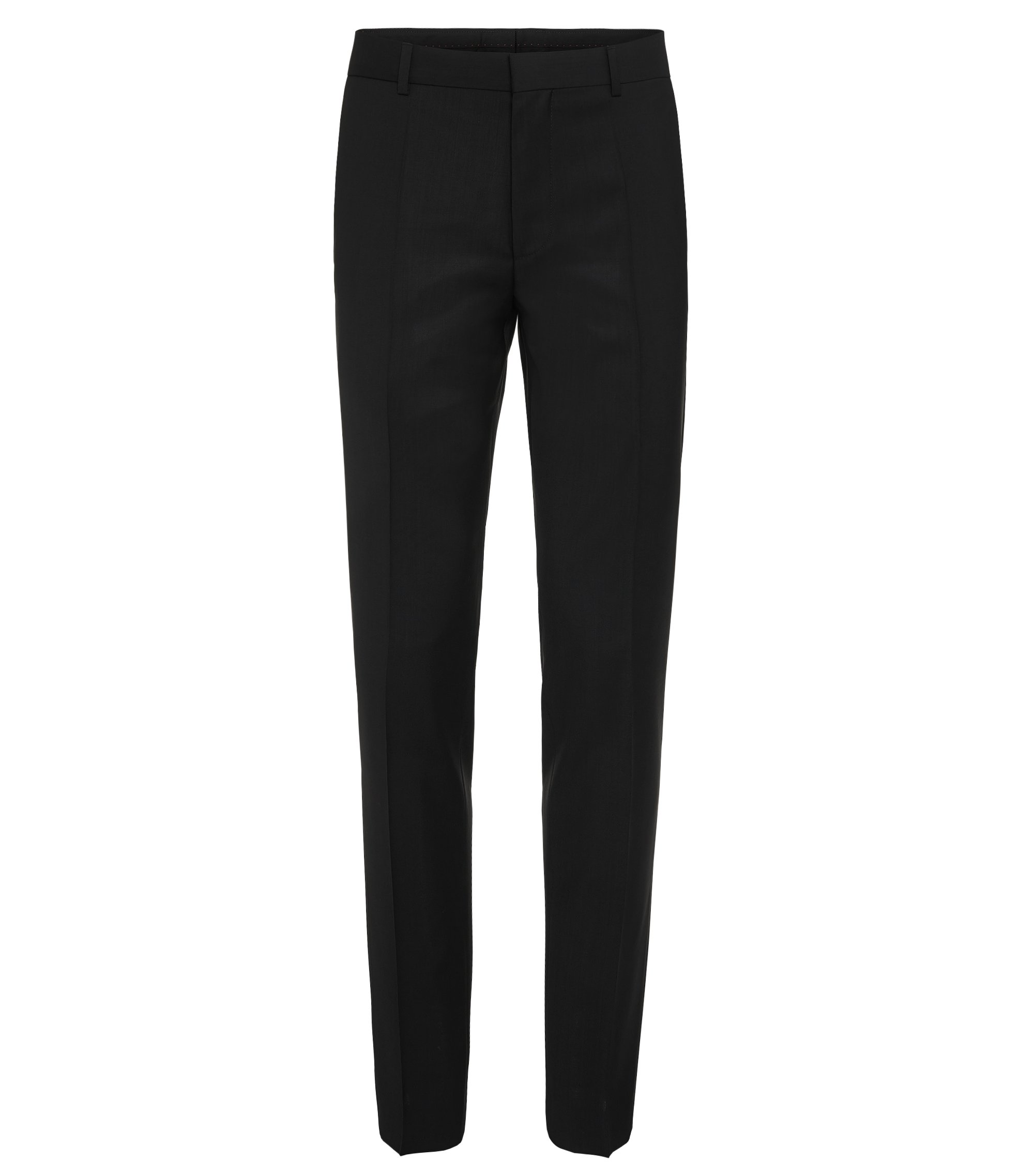 Plain-coloured slim-fit trousers in new wool: 'HardyS', Black