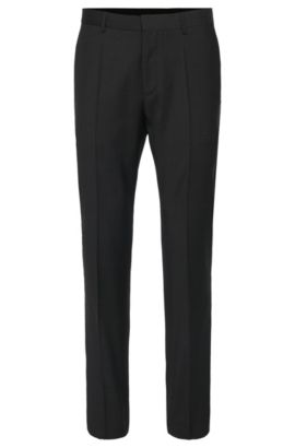 Plain-coloured slim-fit trousers in new wool: 'HardyS', Dark Grey