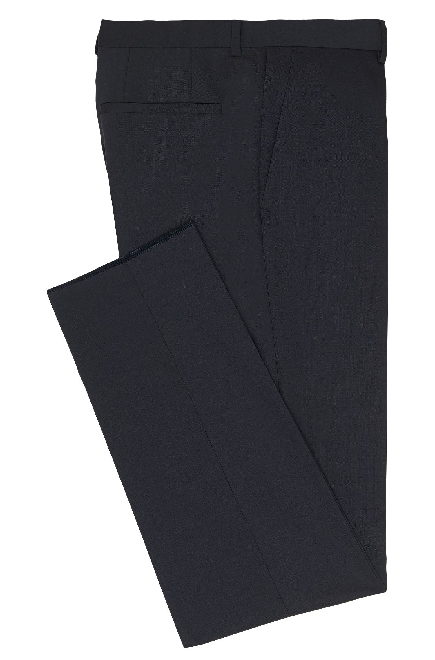 Pantaloni slim fit in lana vergine in tinta unita: 'HardyS', Blu scuro