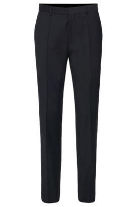 Pantaloni slim fit in lana vergine in tinta unita: 'HardyS', Blu scuro
