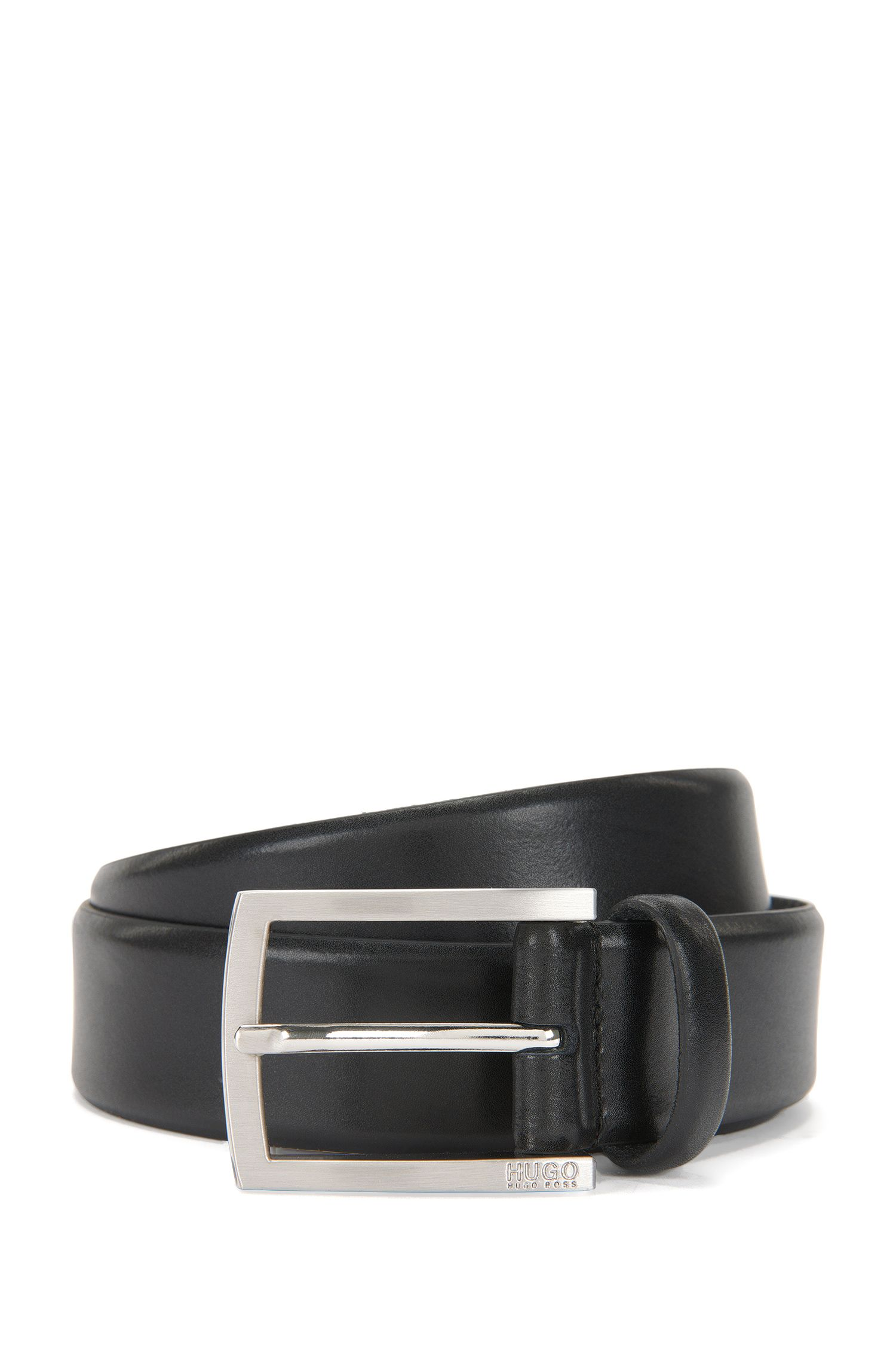 Leather belt with brushed pin buckle, Black
