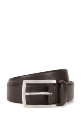 Leather belt with brushed pin buckle, Dark Brown