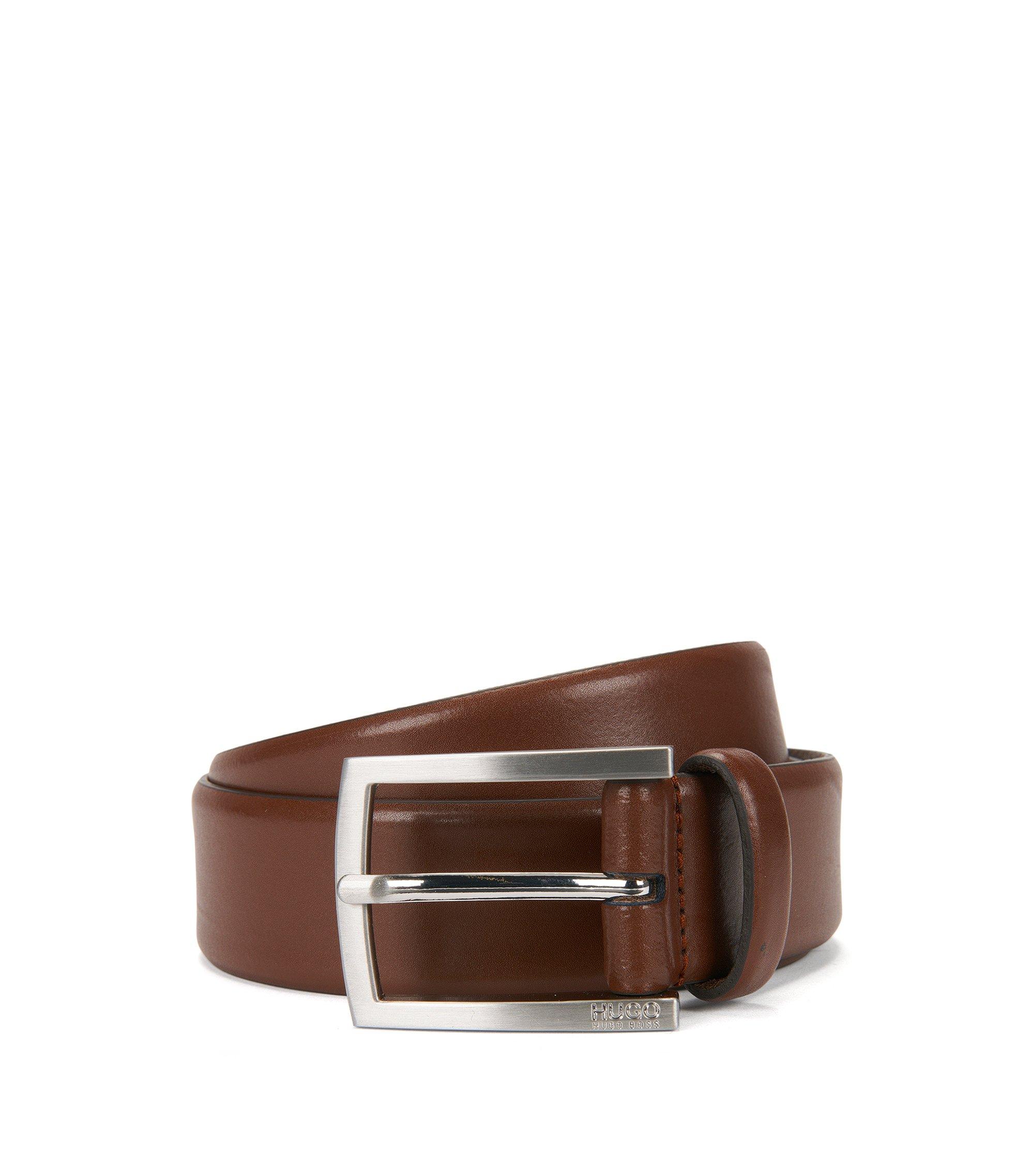 Cinturón de piel con hebilla cepillada, Marrón