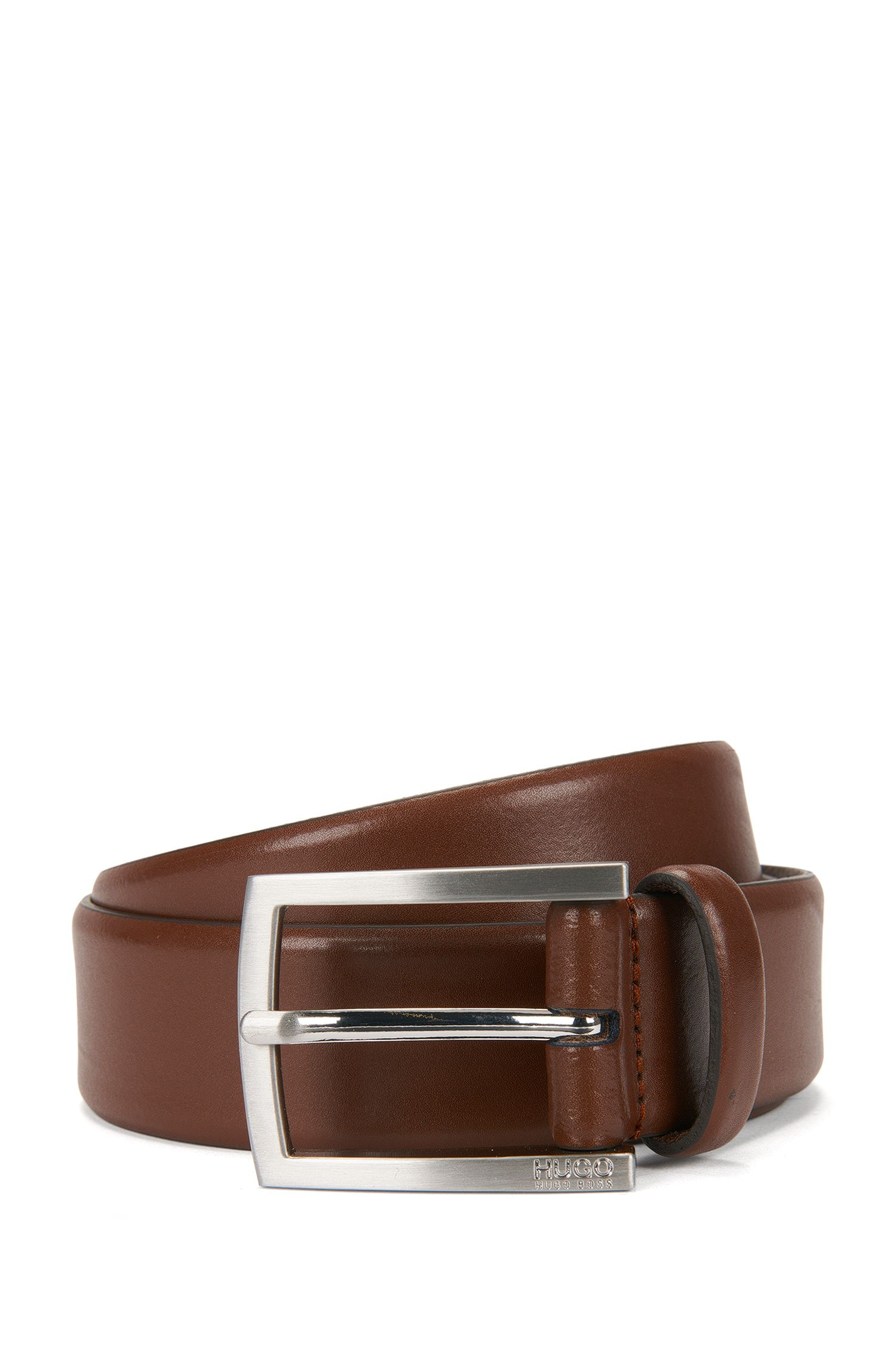 Leather belt with brushed pin buckle, Brown