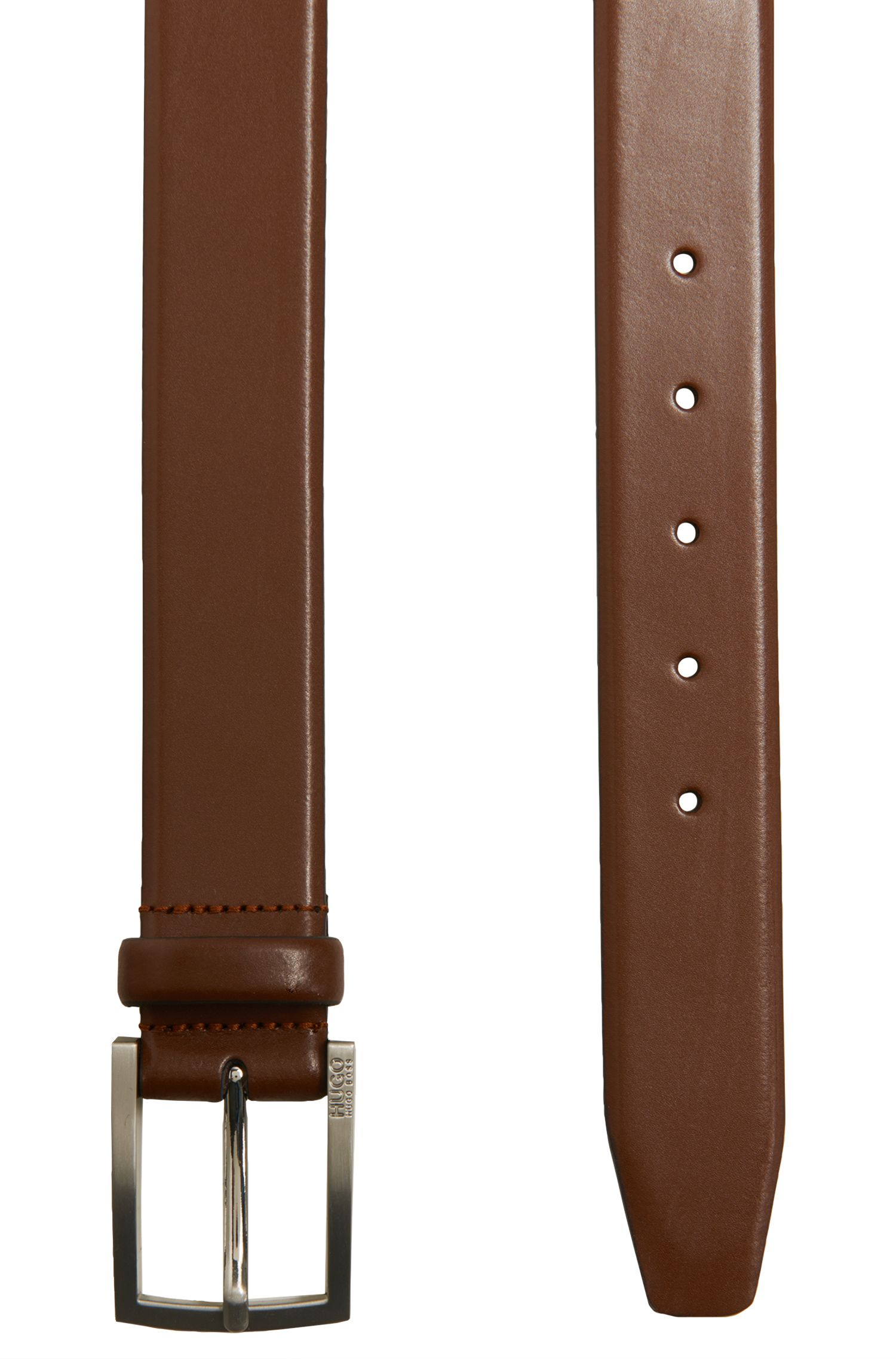 Leather belt with brushed pin buckle