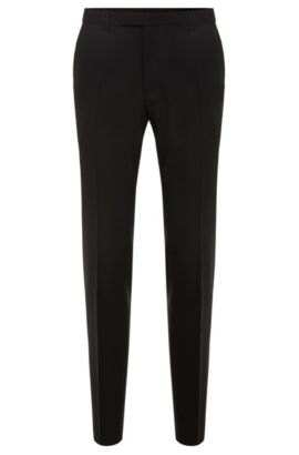 Skinny-fit trousers in stretch wool , Black