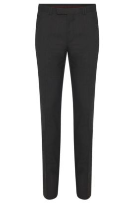 Skinny-fit trousers in stretch wool , Dark Grey