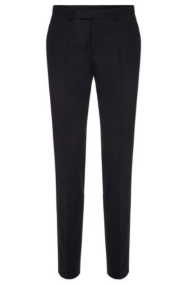Skinny-fit trousers in stretch wool , Dark Blue