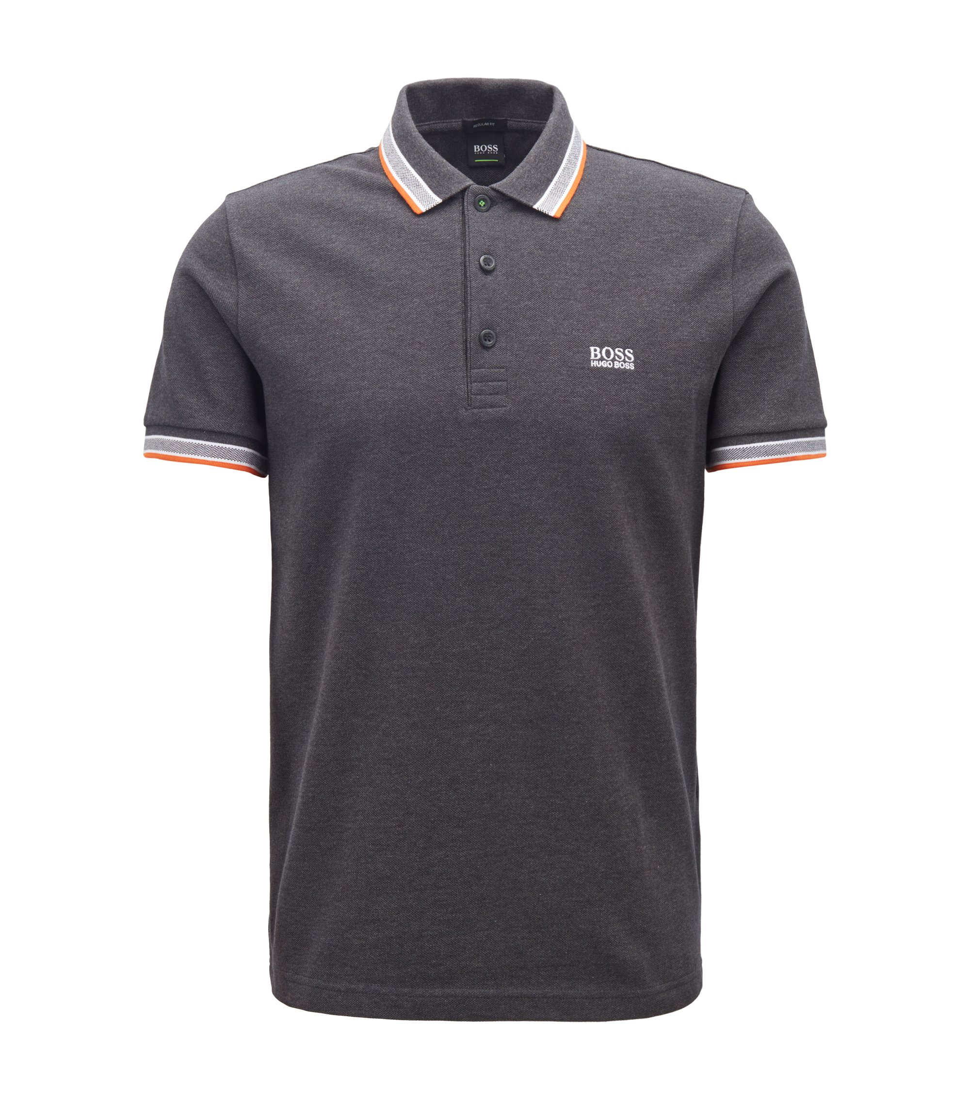 Regular-fit polo shirt in knitted piqué, Dark Grey
